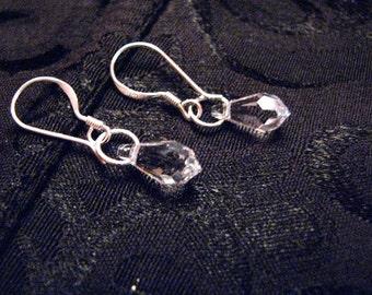 Mon Petite Semi-Precious Clear Swarovski Crystal 11x5.5mm Earrings Dangle on 925 Sterling Silver Wires by LauriJon Studio City (TM)