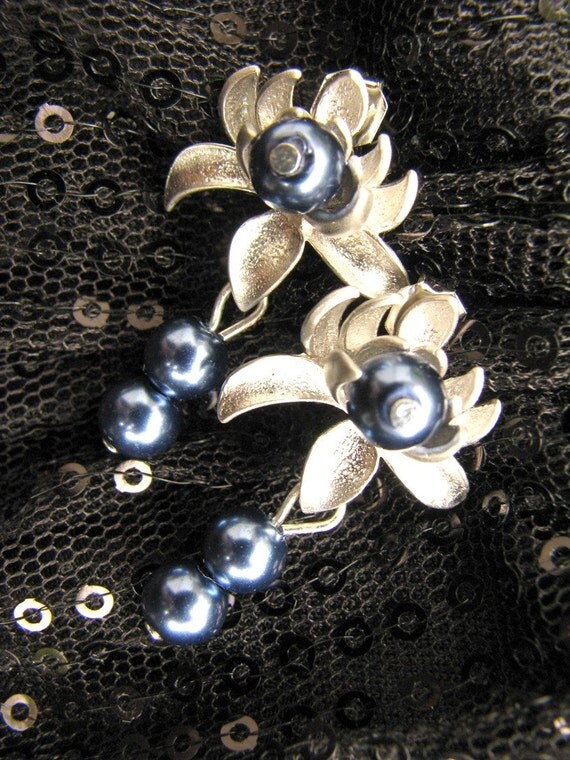 Stunning Silver Matte Lotus Flower Earrings with Triple Midnight Blue Swarovski Pearls Dangle on Silver Plated Posts by LauriJon Studio City
