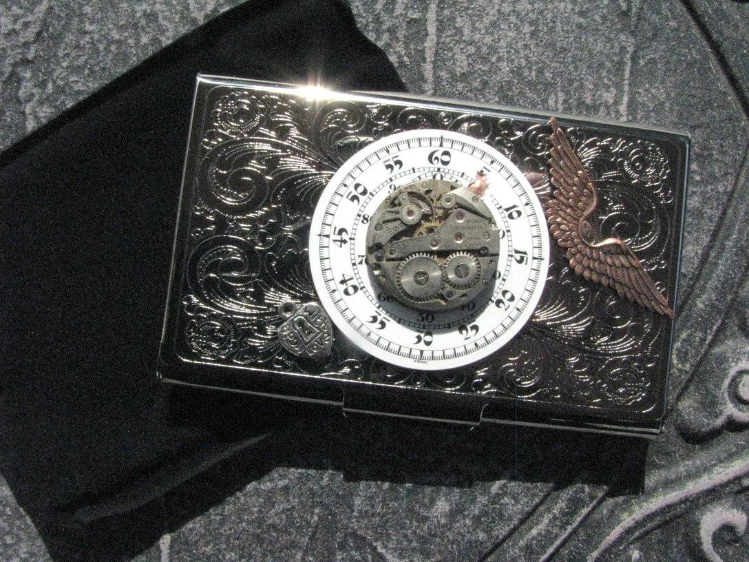 Steampunk business card holder captain sun time lauri jon for Steampunk business card holder