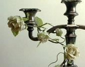 Silver Plate Candelabra - tarnished, candles, grey, gray, uk