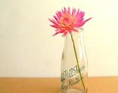 Milk Bottle - glass, clear, uk, advertisment, green