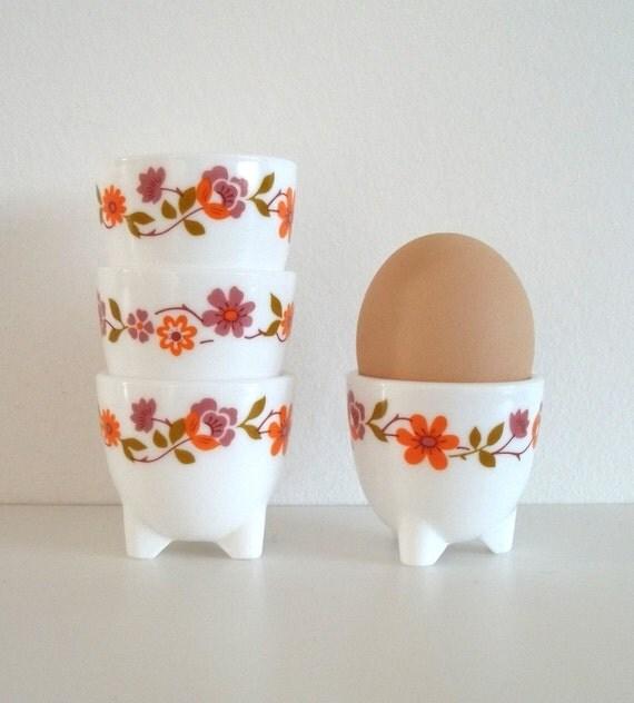Flower Egg Cup Holders, 4 - White, Glass - Flower Garland