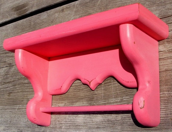 Painted Wood Shelf - Honeysuckle Pink - UpCyclyed Vintage