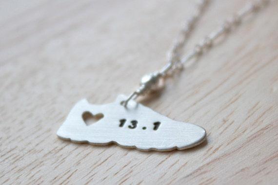 Silver Running Charm Necklace Half Marathon Jewelry