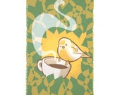 Dan Knapp--Coffee Bird--hand screened print