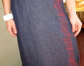 Vintage 70s Denim wrap Skirt With Name Bettyann Embroidered around the edge S/M