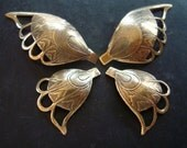 BRASS BUTTERFLY WINGS, Lovely Vintage Patina, Brass Stamping, Embellishment, Will Drill, Pendants, Jewelry Supplies
