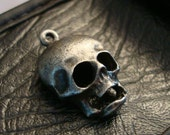 Gothic, Dreaded Skull, Alien, Jewelry Supply, 1 CREEPY SKULL PENDANT,  Another Unique Skull With Ring