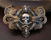 Gothic Necklace OR Supply , Picture Of My Soul, Gothic Skull, Custom Vintage Patina, Handmade Quality Metalwork, USA. Metal Bonded Not Glued
