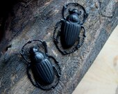 Beetles, Jewelry Supplies, Gothic, 2 Dark Bug Pendants, Connectors or Earring Supply, USA Vintage Pressed Brass