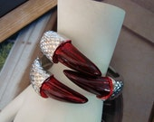 Gothic, BLOOD DRAGON CLAW Cuff, Silver Hinge Reptile Bracelet With Blood Claws