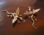 Steampunk Baby Dragon Earring Or Necklace Supplies. Rare Baby Hatchlings Pendants, Brass Ox OR Silver OX