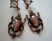 Beetle With Skull In Grasp Jewelry Findings, Rhinestone Set, Earring Post And Dangle, Antiqued Copper Plate