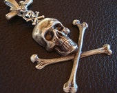 Necklace Supply, Custom Handmade, Gothic SKULL Cross Bone PENDANT, 4 Inch Silver Ox Necklace Component, USA