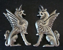 GRYPHONS, 1 PAIR, Silver Ox Pendants, Great Supply For Earrings