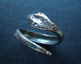SNAKE RING, Silver Ox Jewelry Adjustable Ring