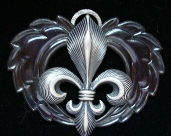 Custom Fleur Necklace or Pendant, Gothic, HEART OF WINGS, Silver Ox Fleur De Lis On Custom Dark Wings, Will add Chain For Additional Charge
