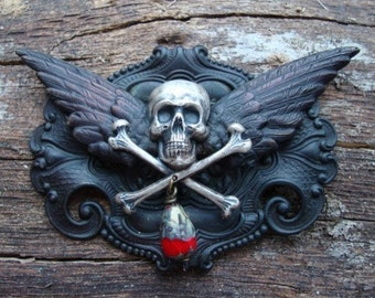 BLOOD DROP, Unique GOTHIC Pendant Or Completed Necklace, Quality Jewelry Component, Necklace Supply