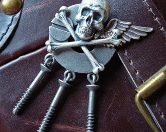 Jewelry, Necklace Pendant or Brooch, Gothic, Steampunk, SCREWED AGAIN, Sterling Silver Skull and Wings, Dangling SteamPunk Screws, RARE