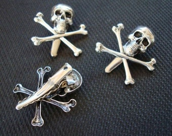 1 Custom Small SKULL CLIP, Gothic Hair Clip, Metal Bonded Together, NOT Glued, Clothing, Purses, Jewelry, Unlimited uses, Handmade, Original