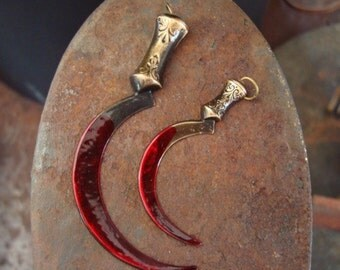 Weapons, Gothic, 2 WEAPON Of TERROR PENDANTS, Little Bloody But Great Pendants