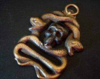 Human Skull, GOTHIC DARK VISIONS, Custom Skull and Snake Pendant, Custom Necklace Supply