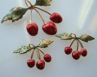 THE ORIGINAL ROCKABILLY Cherry Pendant and Earring Supplies, No Raw Brass Here