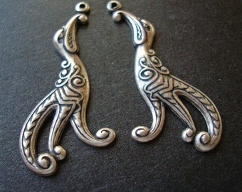 Silver Bird Earring Supply or Connectors, Nice Plating, Very detailed