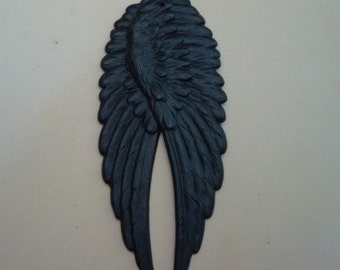 Steampunk Dark LARGE  WINGS, Gothic Decadent DARK Pendants, 1 Set, Necklace Supply