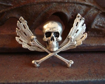 Gothic Necklace Pendant, MY PRECIOUS, Silver Ox, Gothic Skull and Wing Necklace Supply, USA, Handmade