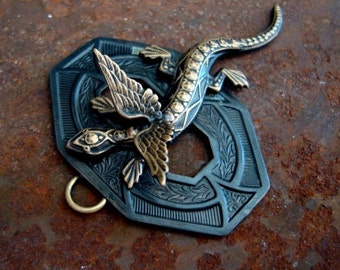 Dragon Jewelry Supplies, Necklace Pendant, 3D WINGED DRAGON, Pendant, Great Detailing, Metal Bonded NOT Glued, Quality Handmade Components