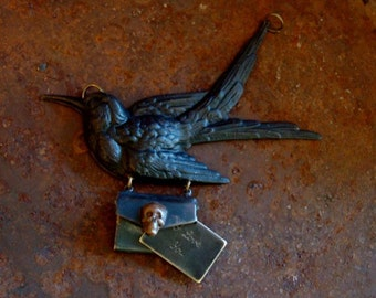 Gothic Steampunk, Dark Raven Delivery Necklace,  THE LAST MESSAGE, Memories of Gothic Love, Envelope Locket and Note, I Love You