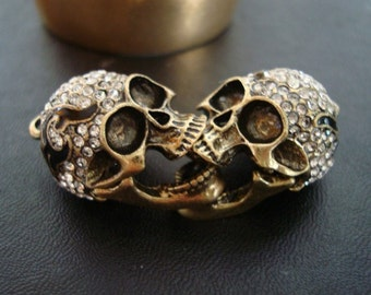GOTHIC human SKULL, 1 Jeweled Skull, Great Necklace Supply, Moveable Jaw