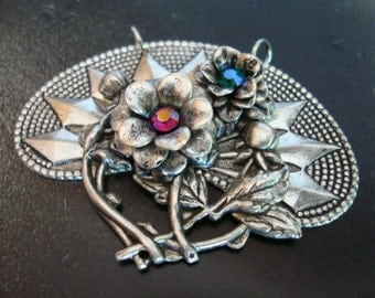 SILVER ROSES And SWAROVSKI Rhinestones, Custom Necklace Supply, Pendant