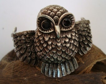 Steampunk Silver Ox Owl Hinge Bracelet Cuff Supply, Great Jewelry Component To Add Embellishments or Color