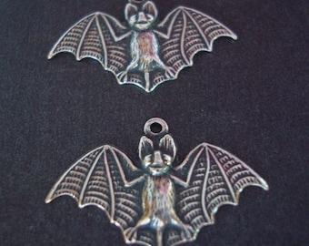 """2 Sterling Silver Bat Charm Pendants, Vampire Bat Necklace Pendants, Bracelet Components, 1 1/8"""" Inches Wide"""