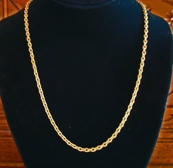 Jewelry Necklace Chain, Solid VINTAGE BRASS CABLE Necklace chain, Great Color, Great Weight, Great Price, 24 or 21 Inches, Sturdy Clasp
