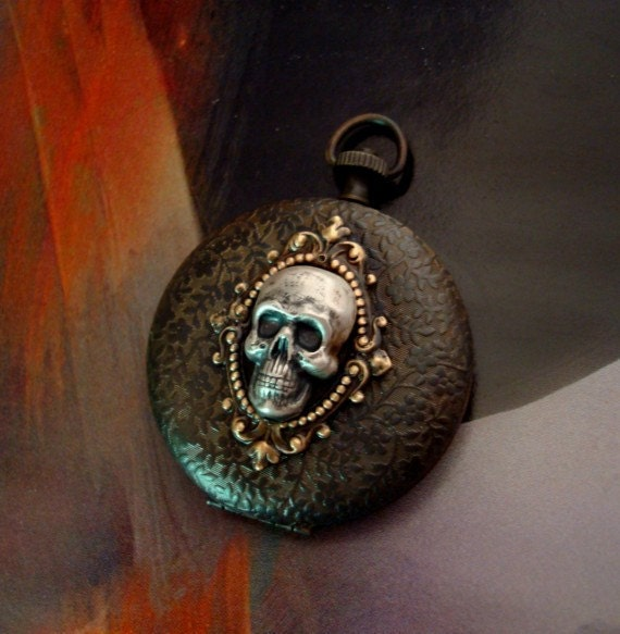 Locket Or Necklace Gothic, Steampunk, FORGET ME NOT, A Pocket Watch Case Locket, Ornate Skull Cameo Jewelry Pendant
