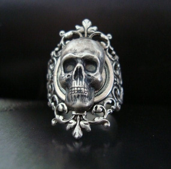 Silver Ox GOTHIC Skull Ring, Quality Sterling Silver Finish With A Custom Fit, Metal Bonded Together, NOT Glued, USA Metals, Handmade