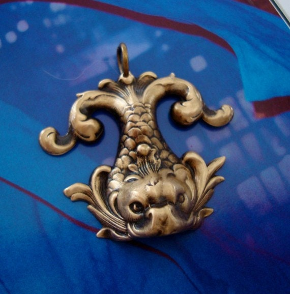Vintage Ox WATER DRAGON PENDANT, Great Details of Scales and Wiskers, Unique, Will Drill Additional Hole In Mouth For Dangle