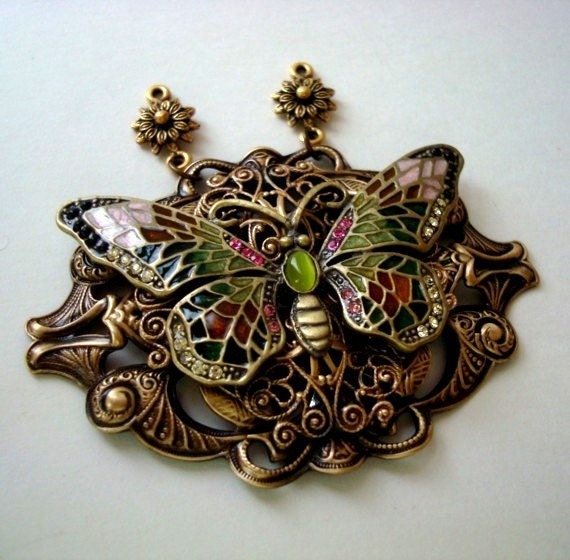Victorian Lace and Butterfly, Rhinestones Jewels and Enamel Necklace Supply, Just Add The Chain