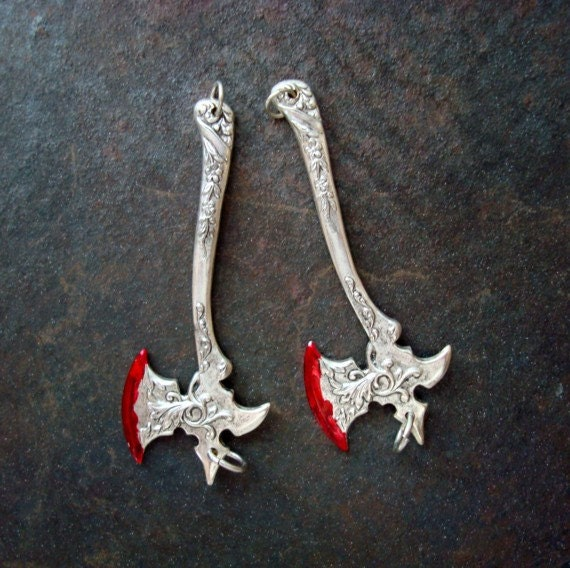 Jewelry Supplies, Silver Ox, Gothic, 2 Bloody Axes, Silver ox Earring Supplies, Charms, or Pendants, Jump Rings Added on Top and Bottom
