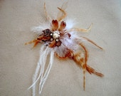 Tan and White Lapel Feather Pin