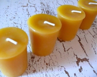4 Pure Beeswax Votives - Standard size