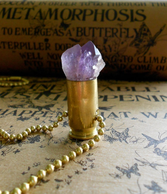 Tantric Twin Brazilian Amethyst Bullet Crystal Necklace