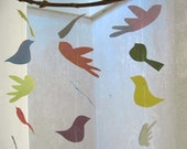 Upcycled birds mobile in pastel