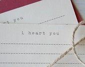 I Heart You Flat Note Cards - Set of 5