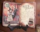 Primitive Halloween Cabinet Card - Tiger Lily's Spell Book