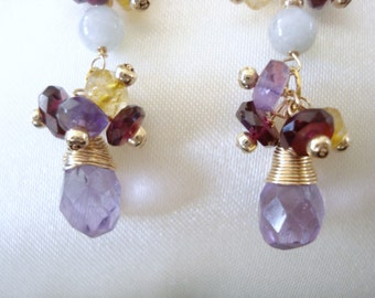 14K Gold Filled Earrings with Gemstones and Pearls