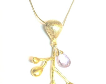 Golden Branch Pendant with Amethyst